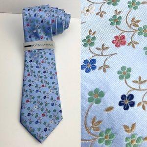 NWT Boca Classics Blue Floral 100% Silk Tie